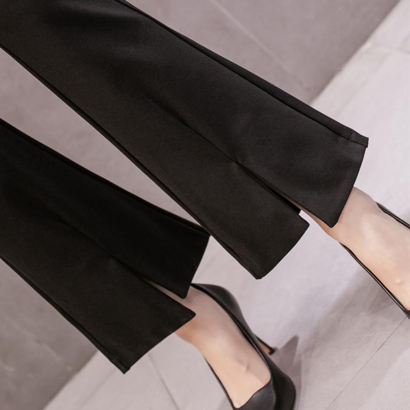 實拍2020夏裝新款高腰格子微喇叭褲女褲九分褲西裝休閑褲七分褲
