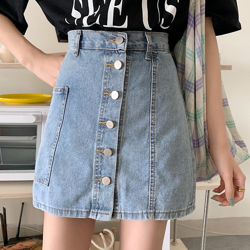 實拍牛仔褲裙女假兩件闊腿寬松短褲夏季新款裙褲時尚高腰a字潮