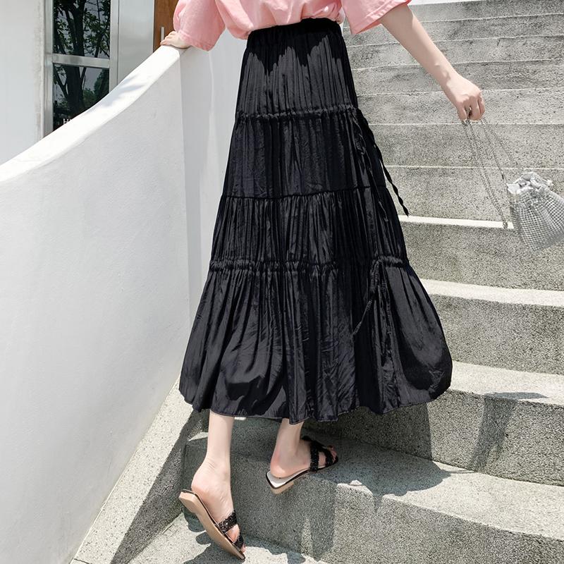 實拍2020夏季新款大擺半身裙松緊腰chic中長款長裙系帶高腰傘裙
