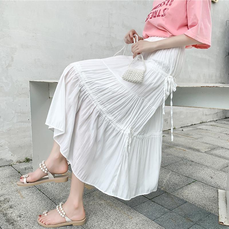 實拍夏白色半身裙女a字裙半裙韓版高腰顯瘦過膝長裙休閑百搭傘裙