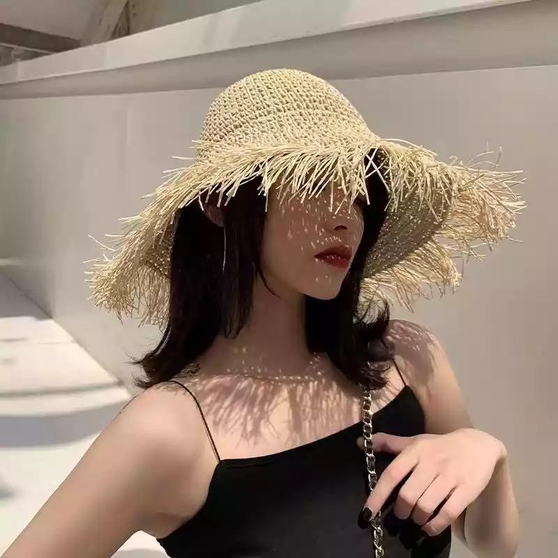 韓國東大門代購網紅草帽女夏百搭仙氣帽子女夏季出游大檐沙灘帽