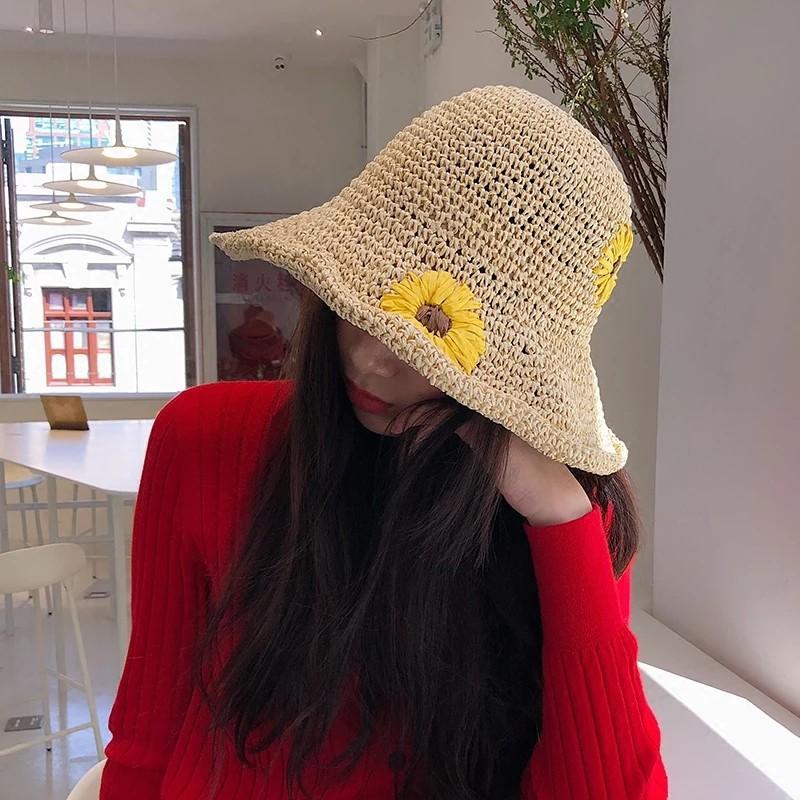 韓國東大門代購網紅草帽女夏小雛菊仙氣帽子女夏季出游大檐沙灘帽