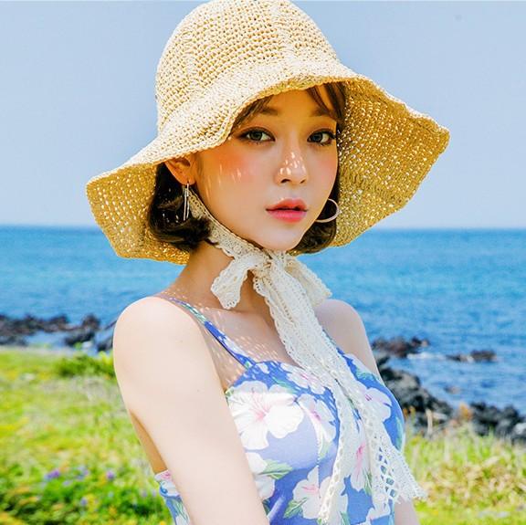 網紅草帽女夏百搭蕾絲綁帶蝴蝶結仙氣帽子女夏季出游大檐沙灘帽