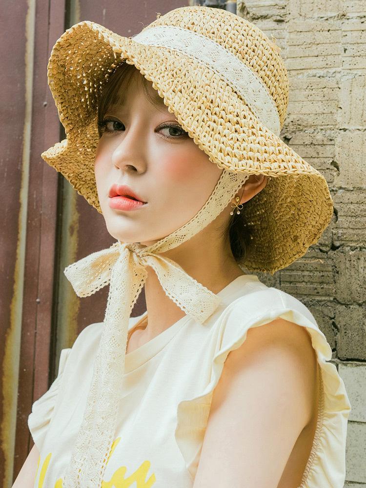 韓國網紅草帽女夏蕾絲綁帶蝴蝶結仙氣帽子女夏季出游大檐沙灘帽