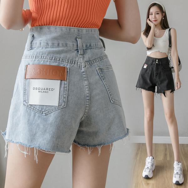 TS47406#宽松港风牛仔短裤女新款夏季薄款高腰a字显瘦显高排扣热裤