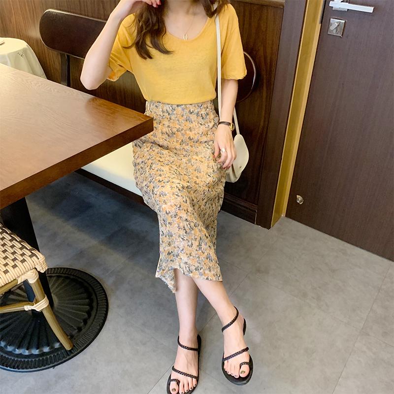 實拍2020春夏女裝新款潮流時尚法式雪紡裙子減齡小碎花氣質半身裙