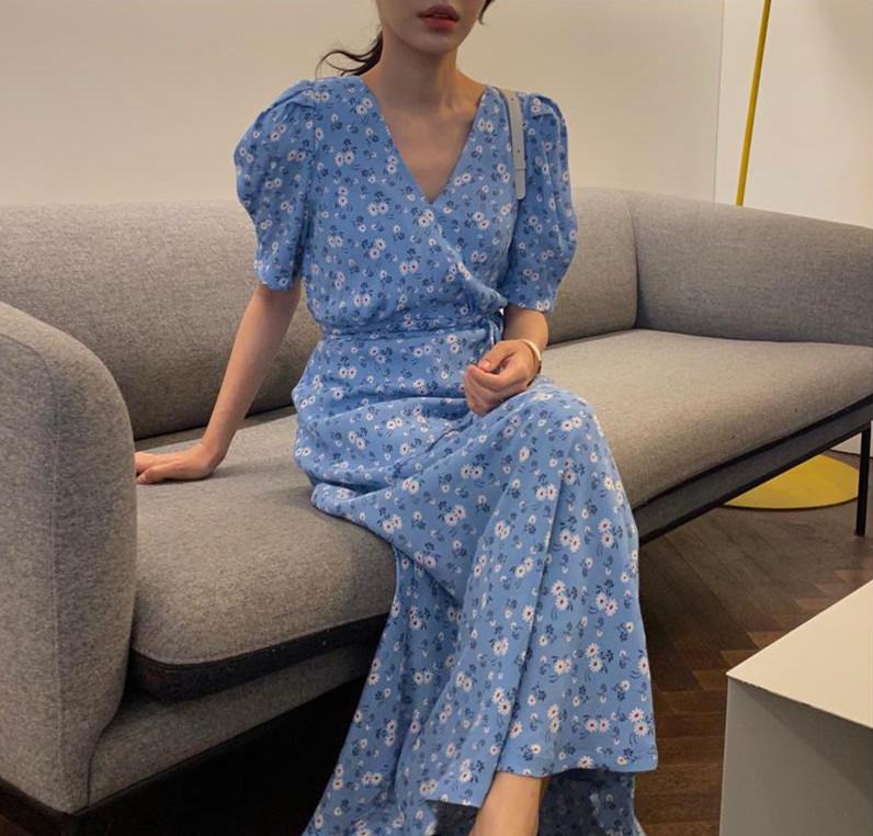 韩国chic洋气碎花V领系带显瘦长款连衣裙