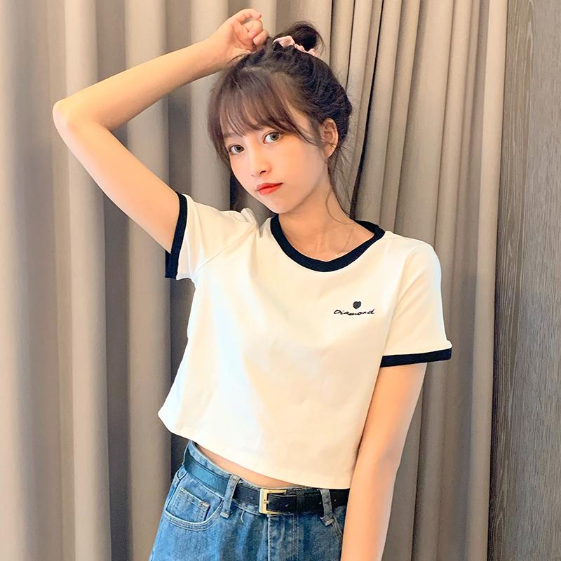 實拍2020夏季新款4色時尚氣質純棉純色短袖T恤寬松舒適女裝上衣