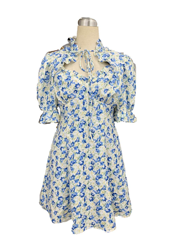 THEHANDLE/璞黎高貴小立領系帶小心機泡泡袖碎花連衣裙法式桔梗裙