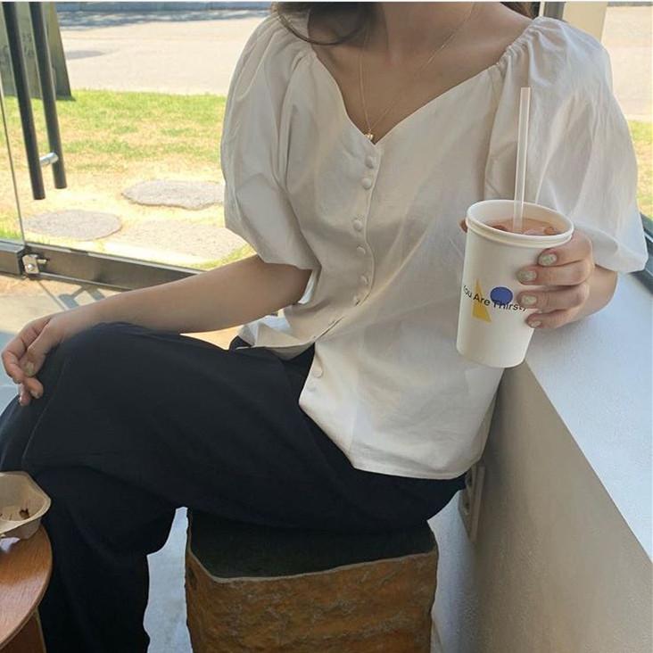 现货 chic鬼马系少女单排扣V领泡泡袖衬衫