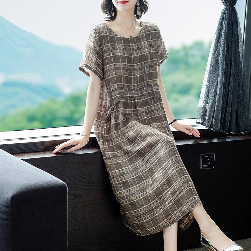 格子棉麻連衣裙女夏裝2020新款高端名媛氣質寬松夏季亞麻短袖裙子