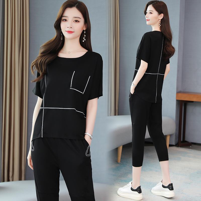 實拍套裝女2020年夏裝新款女裝韓版時尚休閑兩件套洋氣減齡七分褲