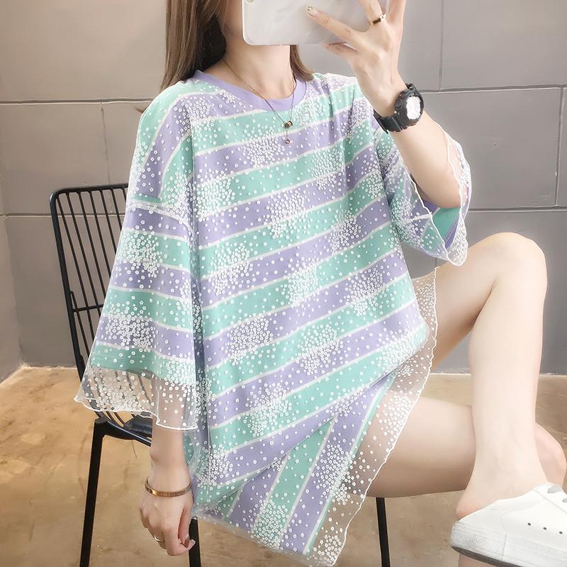 實拍純棉2020夏裝超火假兩件網紗條紋短袖t恤女中長款上衣