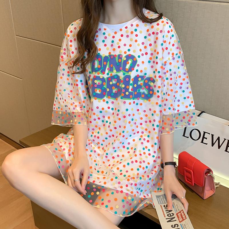 0053#實拍小V家原模特純棉寬松中長款超火假兩件網紗字母短袖t恤