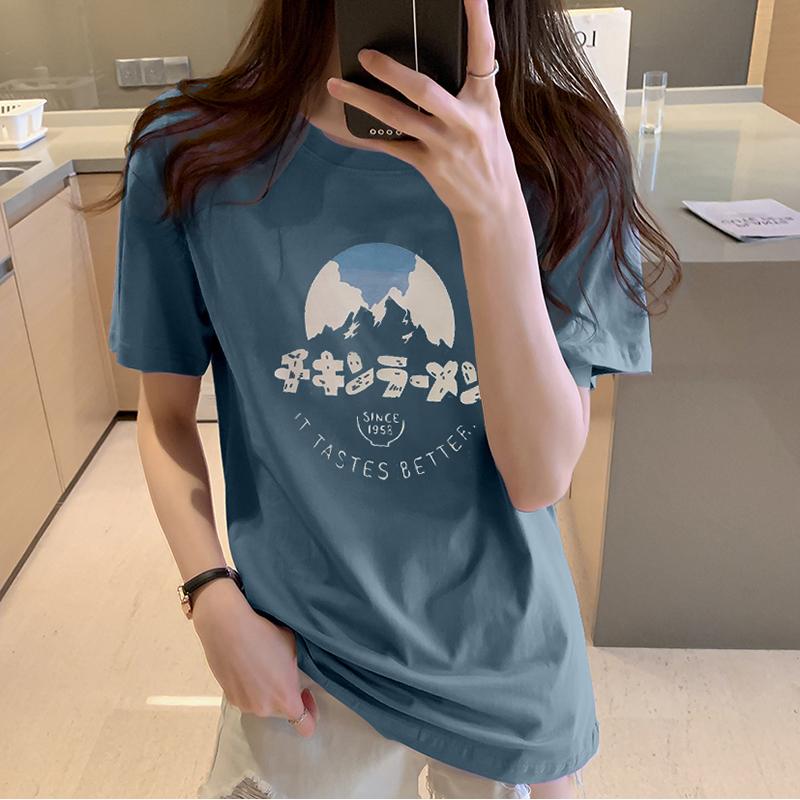 實拍小V家原模特純棉大碼女裝2020夏裝Ins潮印花圓領短袖T恤
