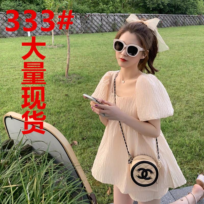 2020女夏季新款韓版方領泡泡袖上衣短褲兩件套小個子顯高套裝洋氣