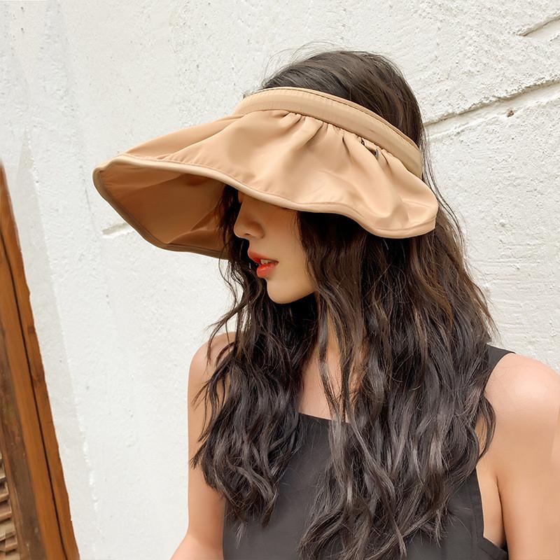 韓國東大門帽子女夏空頂帽大檐荷葉邊防曬帽發箍沙灘帽遮臉太陽帽