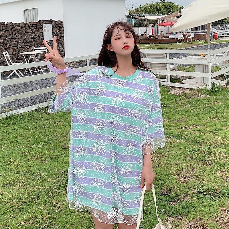 0052#实拍纯棉2020夏装港味条纹假两件网纱短袖t恤女中长款上衣潮