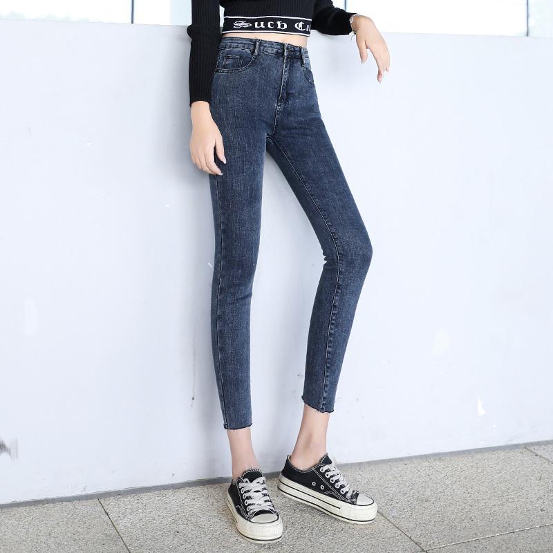 實拍牛仔褲女九分褲秋款彈力毛邊韓版高腰彈力緊身顯瘦小腳長褲