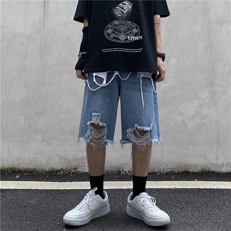 男类目 控价39 夏季高街做旧水洗牛仔短裤一件代发破洞五分裤