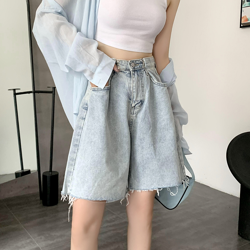 實拍牛仔五分褲女直筒港味夏季高腰短褲寬松顯瘦a字闊腿中褲