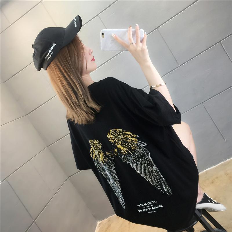實拍燙鉆翅膀短袖T恤女新款寬松韓版bf風顯瘦百搭打底衫上衣