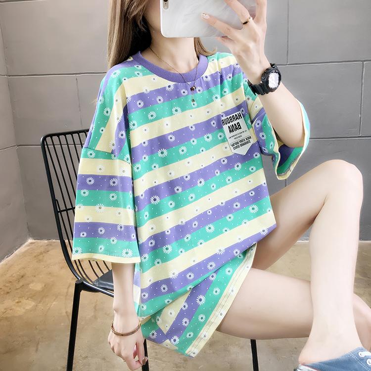 2021夏装实拍~新款韩版宽松中长款条纹印花ins短袖T恤女