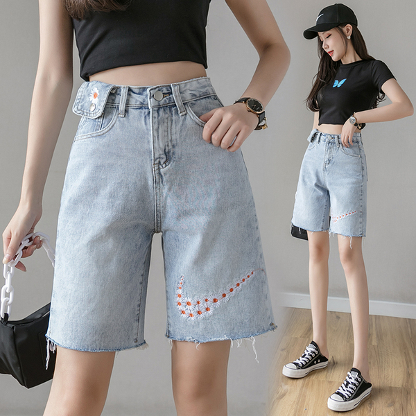 TS47407#雏菊牛仔短裤女港味五分裤流行的裤子学生宽松高腰显瘦中裤