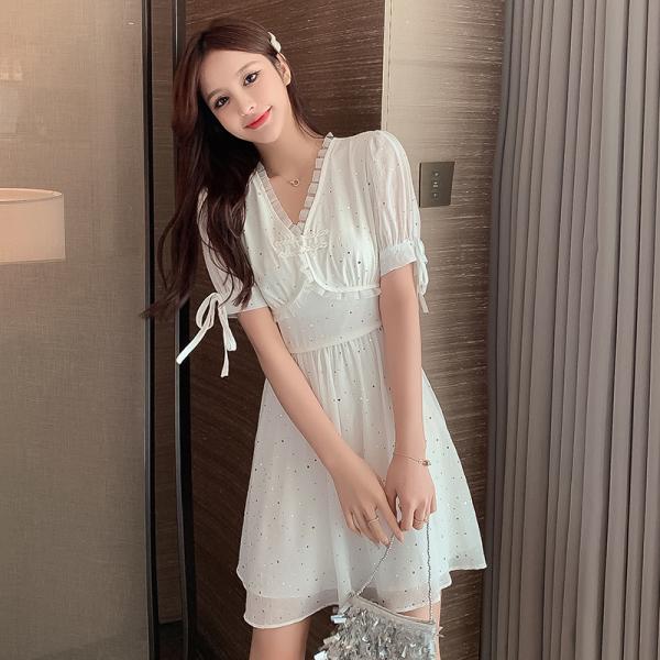 TS48887#新款法式连衣裙复古赫本温柔风改良旗袍小白裙