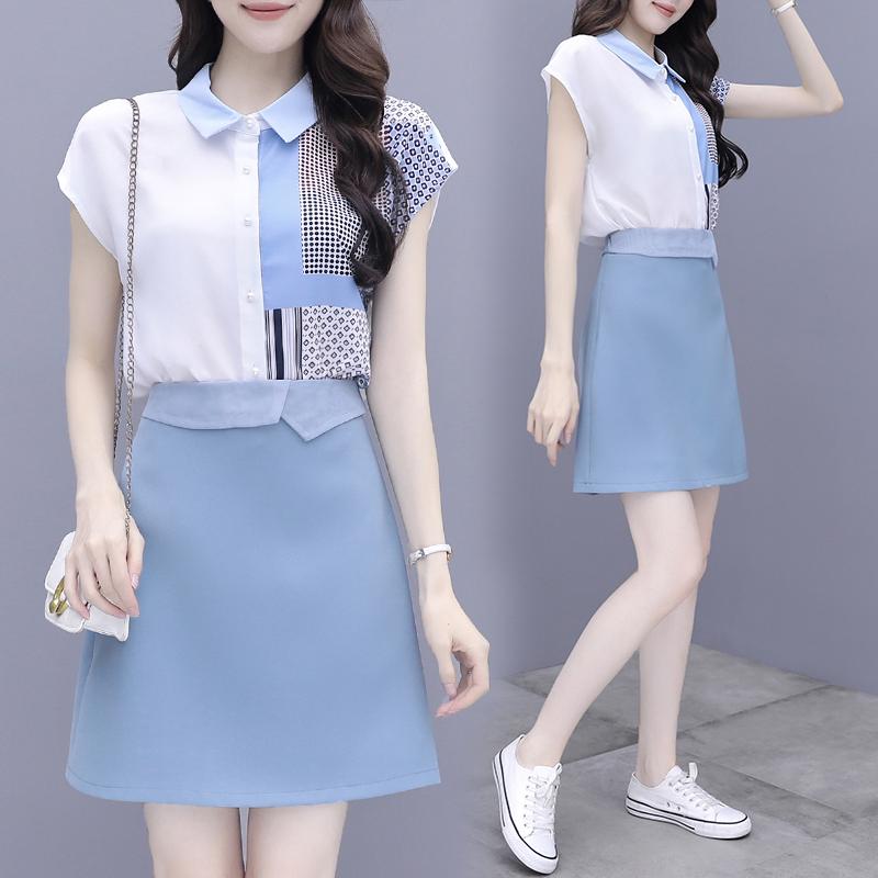 气质女神范衣服套装轻熟风夏装2021新款女赫本风半身裙洋气两件套