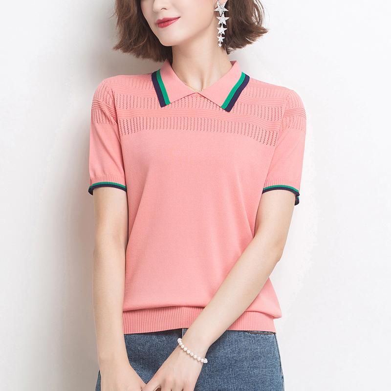 现货 时尚翻领运动t恤女夏季新款冰丝针织polo衫宽松镂空妈妈上衣