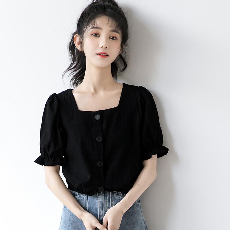 法式泡泡袖衬衫女夏黑色短袖衬衣宽松学生短款方领上衣