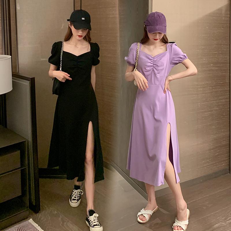 大码胖mm心机连衣裙女夏季气质收腰显瘦中长款泡泡袖开叉紫色裙