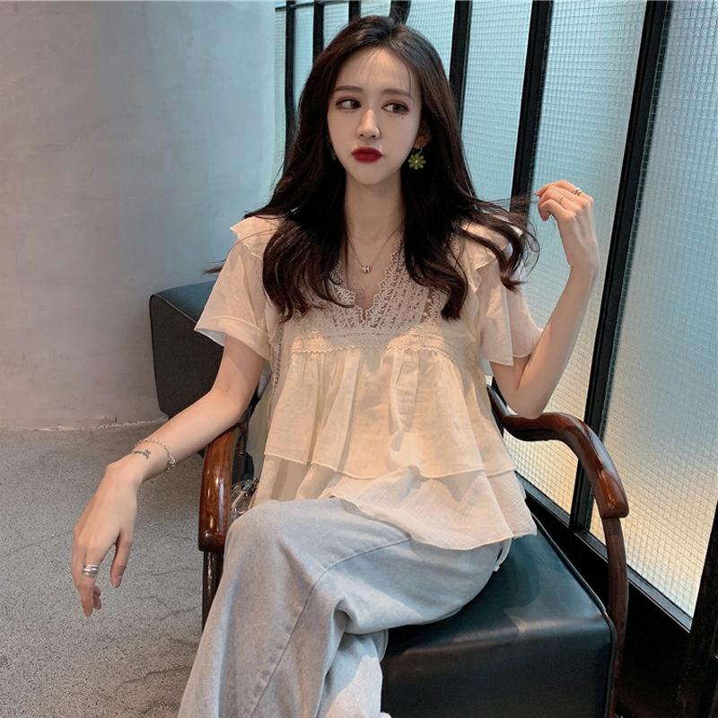 韩版荷叶边v领气质娃娃衫仙女上衣宽松洋气短袖雪纺衫女