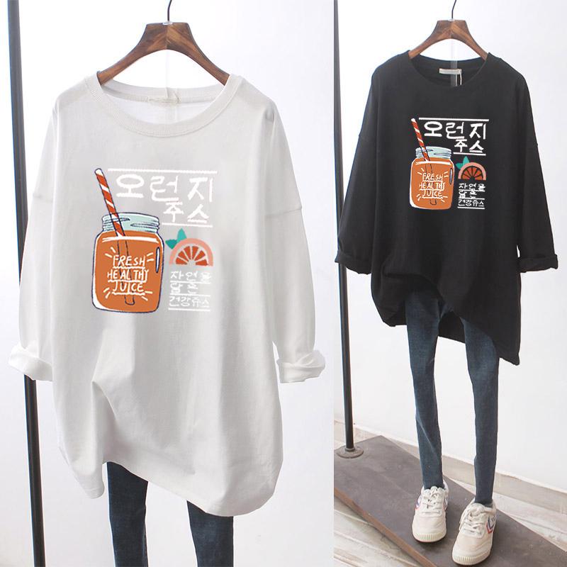 官圖大碼女裝2020秋裝韓版長袖T恤女卡通圖案印花韓版ins潮