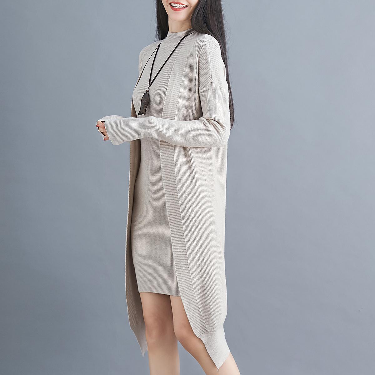 質檢實拍秋裝2020年新款針織兩件套裝裙女中長寬松外穿毛衣外套