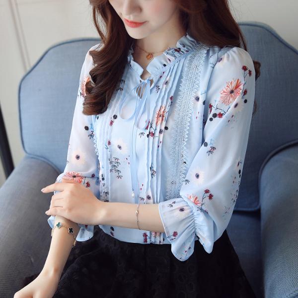 KTY12658#秋季新款小衫时尚印花上衣女长袖百搭蝴蝶结雪纺衫