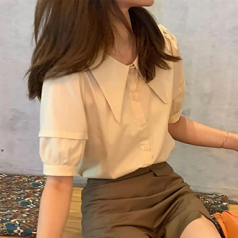 尖领衬衫女新款2020宽松复古宫廷风甜美短袖上衣设计感小众