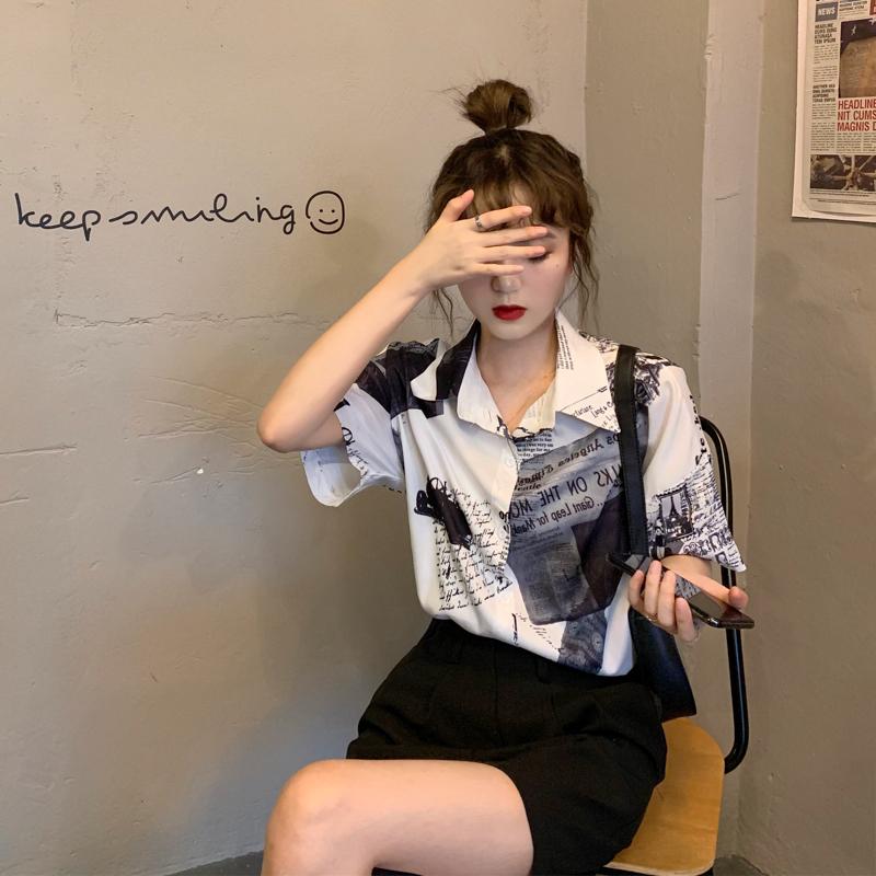 实价实拍  港风法式衬衫女设计感小众2021年夏新款短袖衬衣女春款