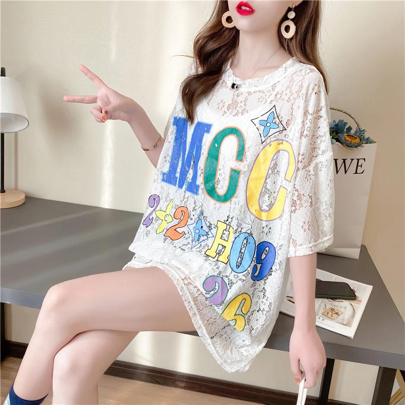 小清新半透明花朵t恤女短袖2020夏装网红很仙的韩版打底衫