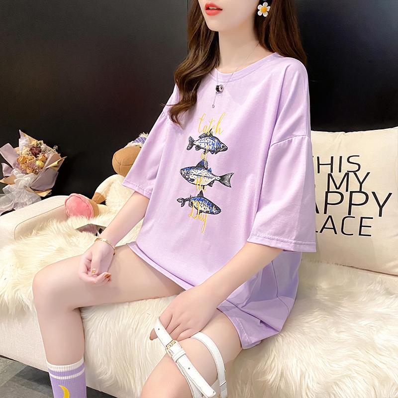 棉质宽松短袖T恤女设计感新款女印花体恤潮
