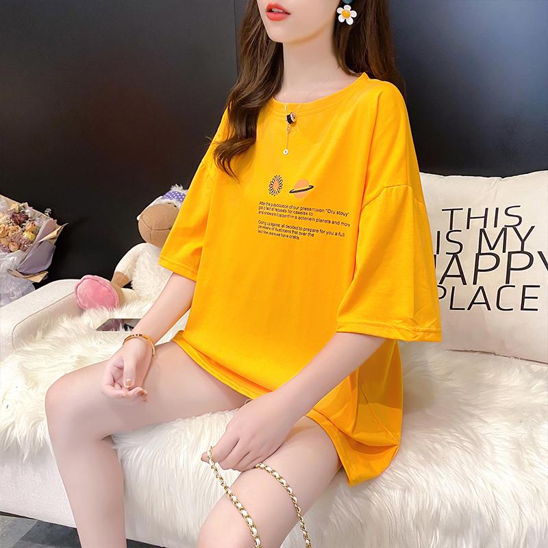 棉质宽松短袖T恤女设计感新款女印花体恤潮网红
