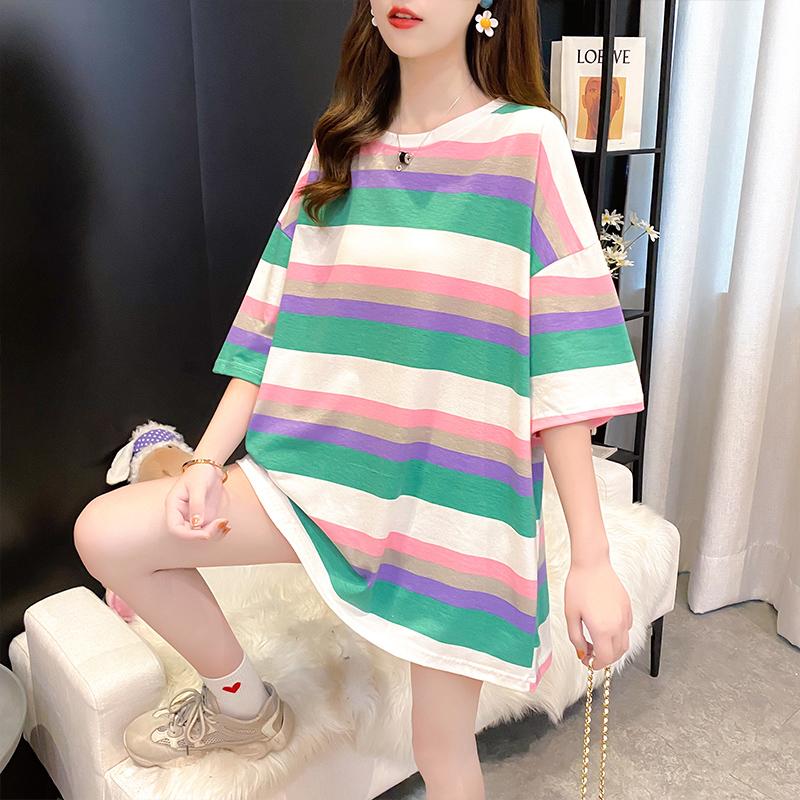 棉质宽松短袖条纹T恤女设计感新款女印花体恤潮网红