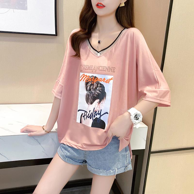 实拍棉质宽松短袖T恤女设计感V领新款女印花体恤