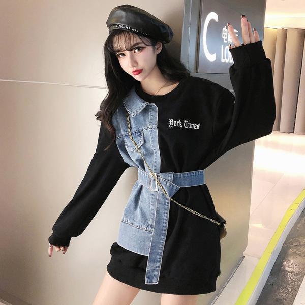 TS49490#卫衣新款秋韩版设计感牛仔拼接宽松显瘦印花字母上衣