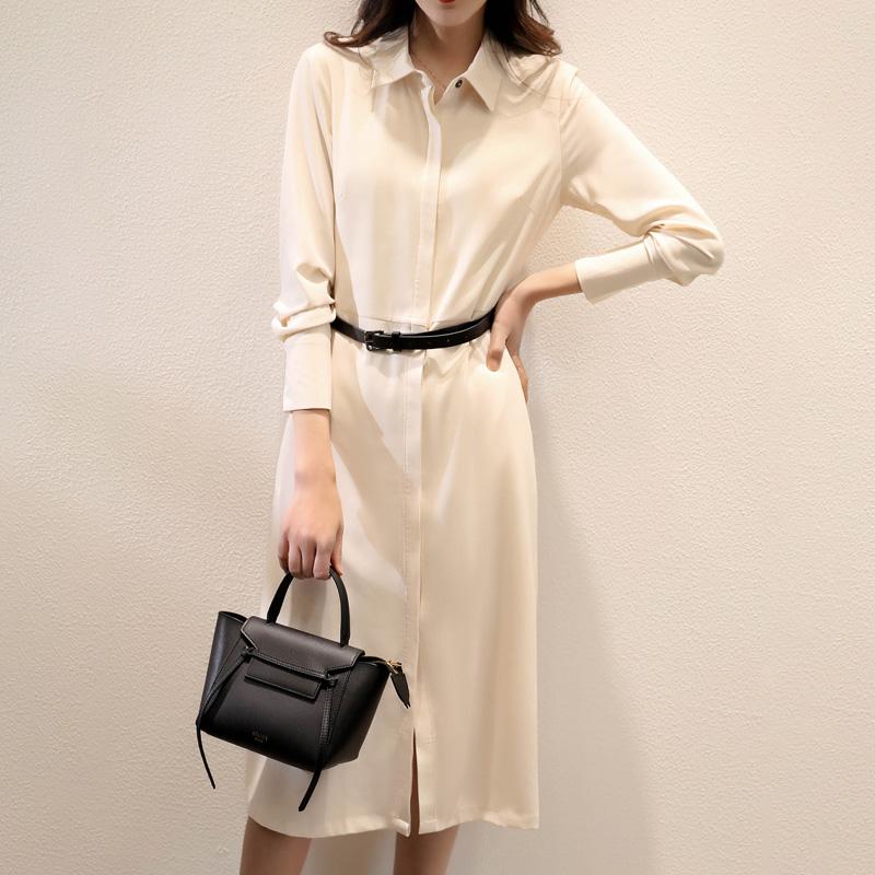 质检官图纯色衬衫长袖连衣裙女2020新款系带显瘦收腰气质开叉裙子