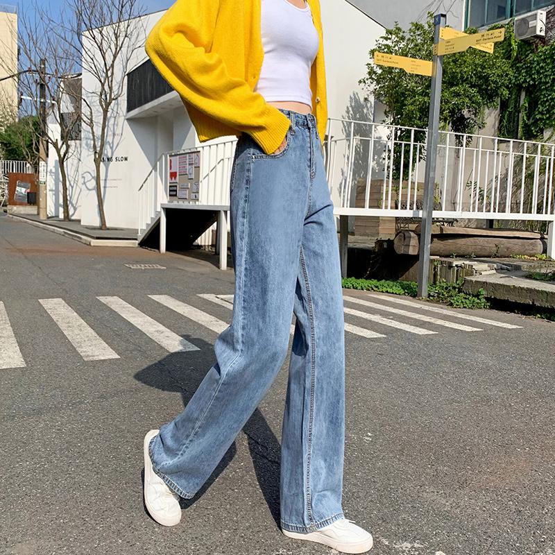 2020秋季新款实拍女高腰宽松休闲阔腿裤个性拖地裤时尚直筒牛仔裤