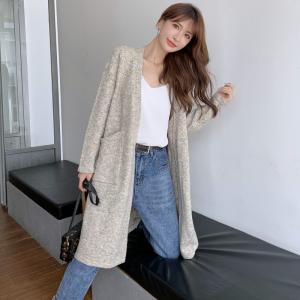 KTY13544#秋冬韩国超长款宽松过膝纯色开衫毛衣外套女