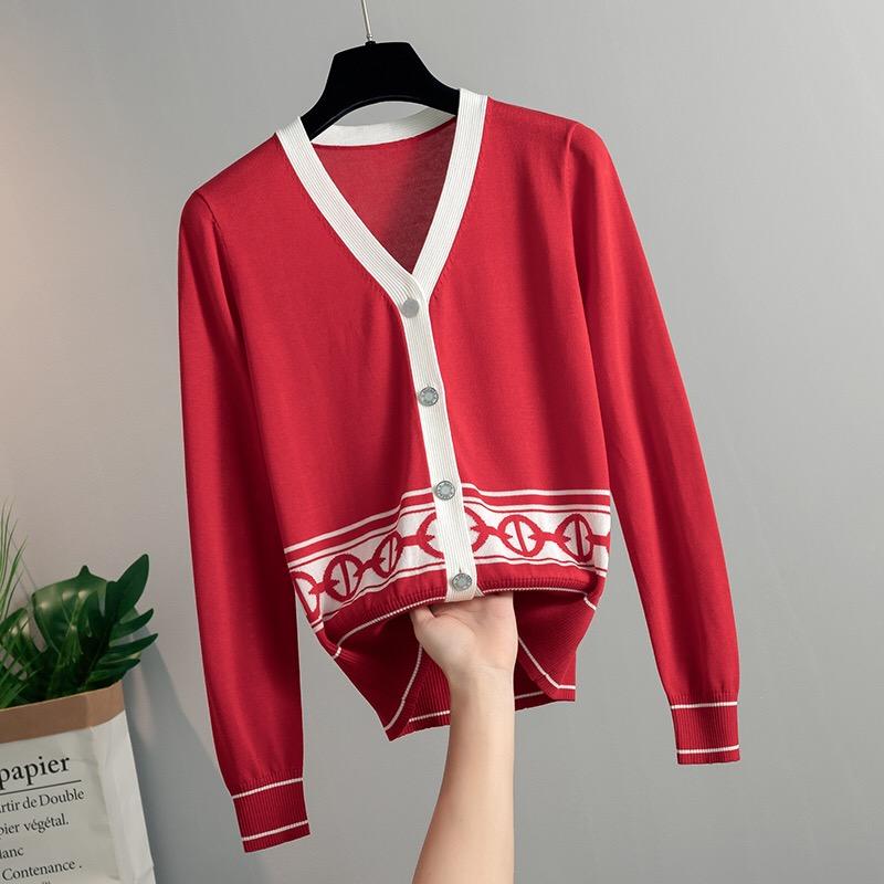 20春秋新款撞色小香風羊毛針織開衫小外套女氣質顯瘦v領毛衣外搭