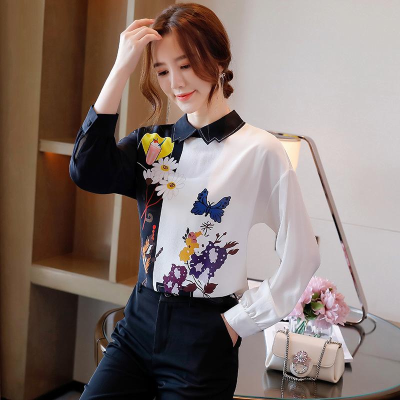 衬衫女长袖高端2020秋季新款时尚黑白拼色印花桑蚕丝上衣